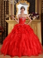 Cheap Red Quinceanera Dress Sweetheart Organza Appliques with Beading  Ball Gown