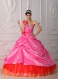 Cheap Rose Pink Quinceanera Dress One Shoulder Organza and Taffeta Beading and Hand Flower Ball Gown