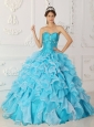 Classical Sky Blue Quinceanera Dress Sweetheart Taffeta and Organza Beading A-Line / Princess