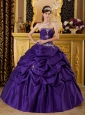 Classical Purple Quinceanera Dress Strapless Taffeta Appliques Ball Gown
