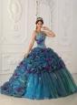 Classical Teal Quinceanera Dress Straps Chapel Train Organza Ball Gown