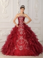Classical Wine Red Quinceanera Dress Strapless Satin and Organza Embroidery Ball Gown