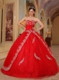 Discount Red Quinceanera Dress Sweetheart Organza Embroidery and Beading Ball Gown