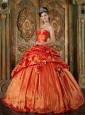 Elegant Orange Red Quinceanera Dress Strapless Pick-ups Taffeta Ball Gown