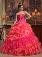 Elegant Hot Pink Quinceanera Dress Sweetheart Taffeta and Organza Beading Ball Gown