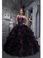 Exclusive Dark Purple and Black Quinceanera Dress Strapless Taffeta and Organza Appliques and Ruffles Ball Gown