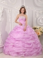 Exclusive Rose Pink Quinceanera Dress Strapless Organza Appliques Ball Gown