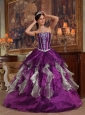Modern Purple Quinceanera Dress Sweetheart Organza Beading Ball Gown