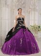 Modest Black and Purple Quinceanera Dress Strapless Taffeta and Organza Apppliques Ball Gown