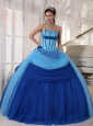 Modest Blue Quinceanera Dress Strapless Tulle Beading Ball Gown