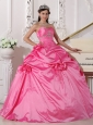 Modest Hot Pink Quinceanera Dress Sweetheart Taffeta Beading and Hand Made Flowers Ball Gown