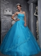 New Baby Blue Quinceanera Dress Sweetheart Taffeta and Tulle Beading and Appliques Ball Gown