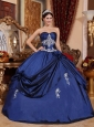 New Navy Blue Quinceanera Dress Sweetheart Satin Appliques Ball Gown