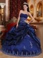 New Royal Blue Quinceanera Dress Sweetheart Taffeta Appliques Ball Gown