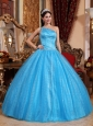 New Teal Quinceanera Dress One Shoulder Tulle and Taffeta Beading Ball Gown