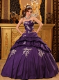 Pertty Purple Quinceanera Dress Sweetheart Taffeta Beading and Appliques Ball Gown