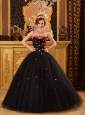 Popular Black Quinceanera Dress Strapless Tulle Appliques Ball Gown