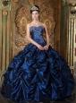 Pretty Navy Blue Quinceanera Dress Sweetheart Picks-up Taffeta Ball Gown