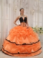 Pretty Orange and Black Quinceanera Dress Strapless Satin and Organza Beading Ball Gown