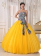 Pretty Golden Yellow Quinceanera Dress Strapless Tulle and Printing Sequins Ball Gown