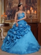 Remarkable Blue Quinceanera Dress Sweetheart Beading Taffeta Ball Gown