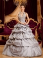 Romantic Gray Quinceanera Dress Halter Taffeta Appliques Ball Gown