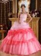 Romantic Quinceanera Dress One Shoulder Organza Appliques with Beading Ball Gown