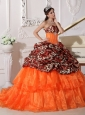 Sweetheart Sweep / Brush Train Leopard and Organza Appliques Ball Gown