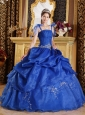 The Super Hot Blue Quinceanera Dress Spaghetti Straps Organza Appliques Ball Gown