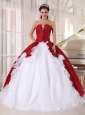 Wonderful Wine Red and White Quinceanera Dress Sweetheart Organza and Taffeta Beading Ball Gown