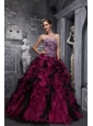 Best Fuchsia and Black Quinceanera Dress Leopard Print and Ruffles and Beading Ball Gown