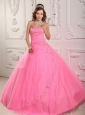 Classical Rose Pink Sweet 16 Dress Ball Gown Sweetheart Tulle Appliques