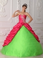 Cute Spring Green and Red Quinceanera Dress Sweetheart Taffeta Appliques and Ruch Ball Gown