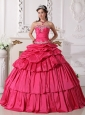 Detachable Hot Pink Quinceanera Dress Sweetheart Taffeta Beading and Ruch Ball Gown