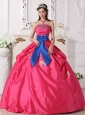 Discount Hot Pink Quinceanera Dress Strapless Taffeta Beading Ball Gown
