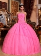 Discount Rose Pink Quinceanera Dress Strapless Tulle Appliques with Beading  Ball Gown