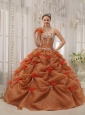 Discount Rust Red Quinceanera Dress One Shoulder Organza Appliques Ball Gown