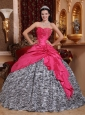 Elegant Hot Pink Sweet 16 Dress Sweetheart Taffeta and Zebra Beading Ball Gown