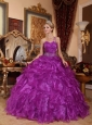 Low Price Purple Quinceanera Dress One Shoulder Organza Beading Ball Gown