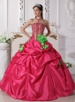 Modest Hot Pink Quinceanera Dress StraplessTaffeta Beading and Hand Made Flowers Ball Gown