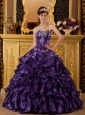 Modest Purple Sweet 16 Dress Sweetheart  Ruffles Organza Ball Gown