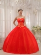 Modest Red Sweet 16 Dress Sweetheart Taffeta and Tulle Appliques Ball Gown