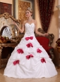 Modest White Quinceanera Dress Sweetheart Taffeta Beading and Bowknots  A-line