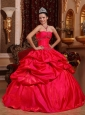 New Red Quinceanera Dress Strapless Taffeta Beading Ball Gown