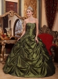 Pretty Olive Green Quinceanera Dress StraplessTaffeta Beading Ball Gown