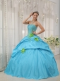 Romantic Baby Blue Quinceanera Dress Strapless Taffeta Beading and Hand Flowers Ball Gown