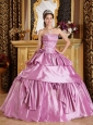 Romantic Lavender Sweet 16 Dress Strapless Taffeta Beading Ball Gown