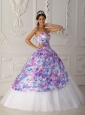 Vintage Multi-color Quinceanera Dress Sweetheart Tulle Appliques A-line