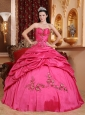 Wonderful Hot Pink Quinceanera Dress Sweetheart Taffeta Appliques Ball Gown