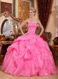 Wonderful Rose Pink Quinceanera Dress Strapless Organza Appliques Ball Gown